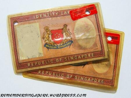 Singapore Pictures on Big Laminated Paper Identity Card Of The Past  Before The Current
