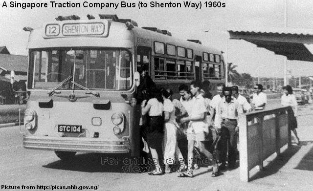 Singapore Traction Company Bus To Shenton Way 1960s