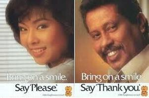 bring on a smile, say please thank you 1985