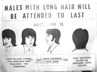 males with long hair will be attended to last 1972