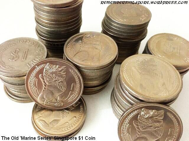 old singapore marine series 1-dollar coins