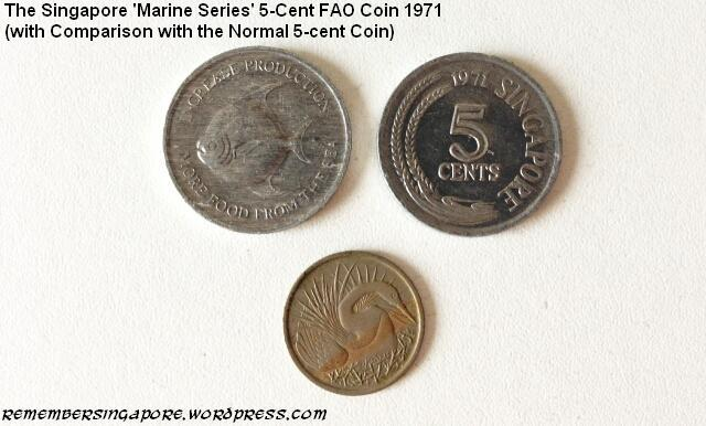 singapore marine series 5-cent fao coin 1971 comparison with normal 5-cent coin
