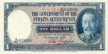 straits settlement 1-dollar note 1935