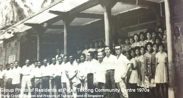 group photo of residents at pulau tekong community centre 1970s