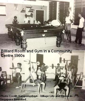 gym and billiard in a community centre 1960s