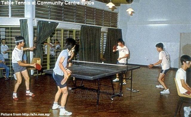 table tennis at community centre 1980s