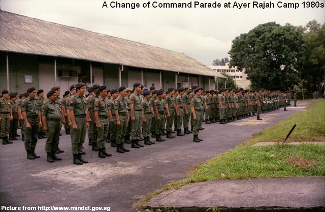 change of command parade at ayer rajah camp 1980s