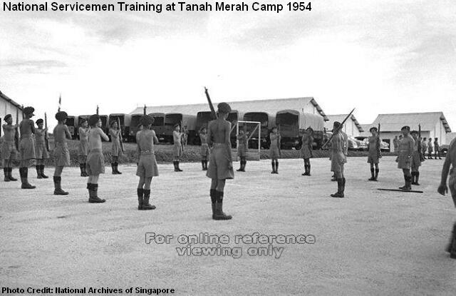 national servicemen training at tanah merah camp 1954