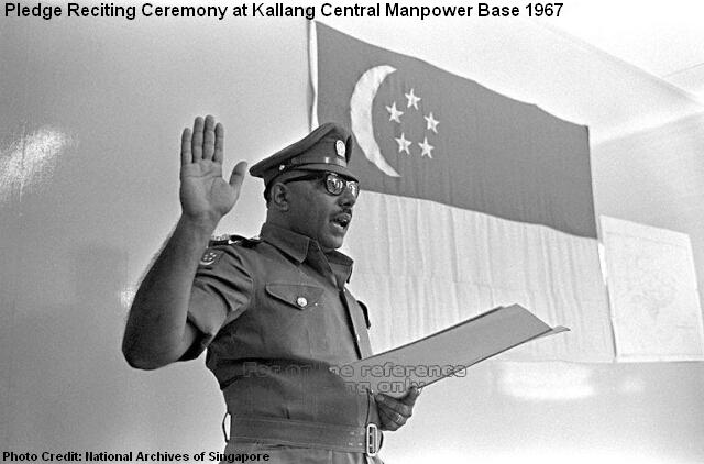 reciting the pledge at kallang central manpower base 1967