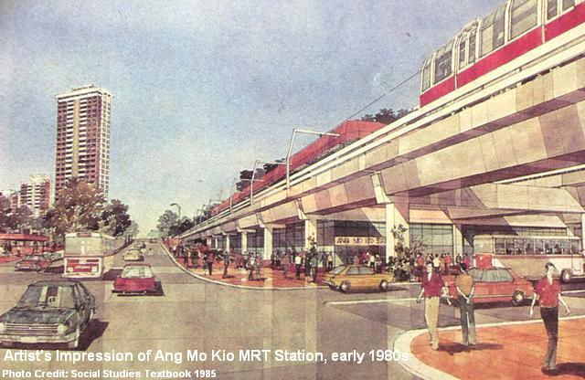 artist's impression of ang mo kio mrt station early 1980s