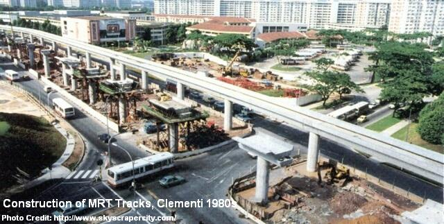 construction of mrt tracks at clementi 1980s