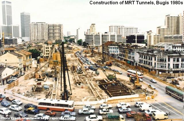 construction of mrt tunnels at bugis 1980s