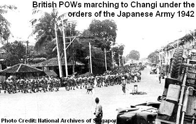 british pows marching to changi 1942