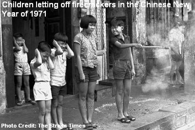 children letting off firecrackers 1971