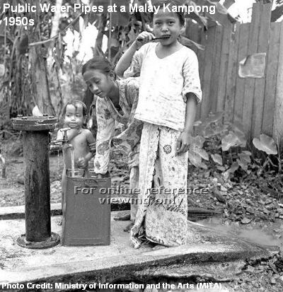 public water pipes in kampong 1950s