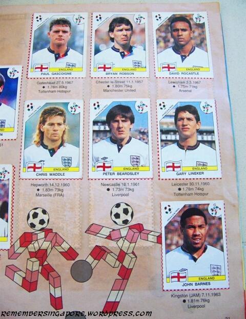 panini world cup italia 90 england