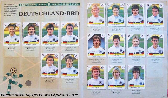 panini world cup italia 90 germany