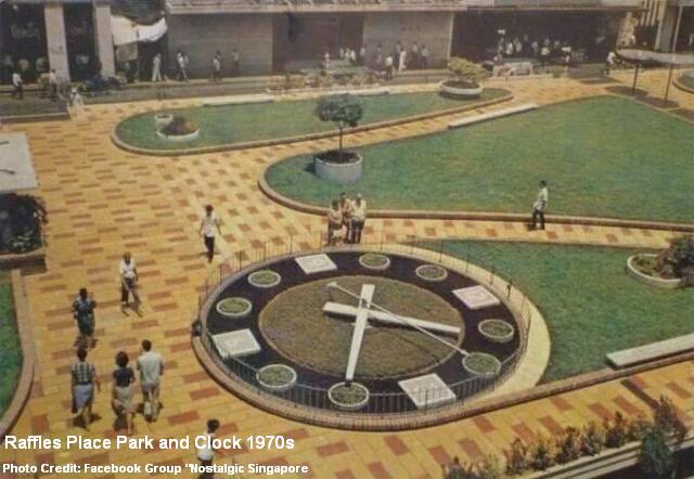raffles place clock garden 1970s