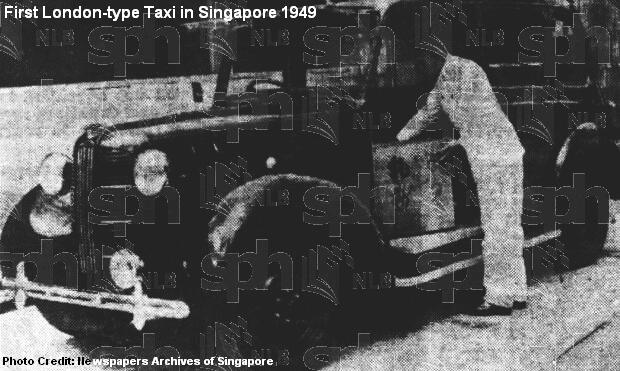 first london-type taxi in singapore 1949