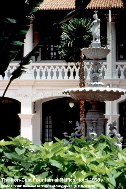 iron cast fountain at raffles hotel 1990s