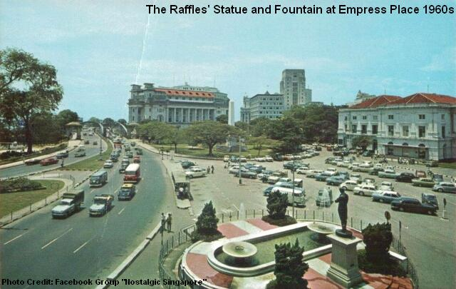 raffles statue and fountain 1960s