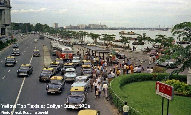 taxis at collyer quay 1970s