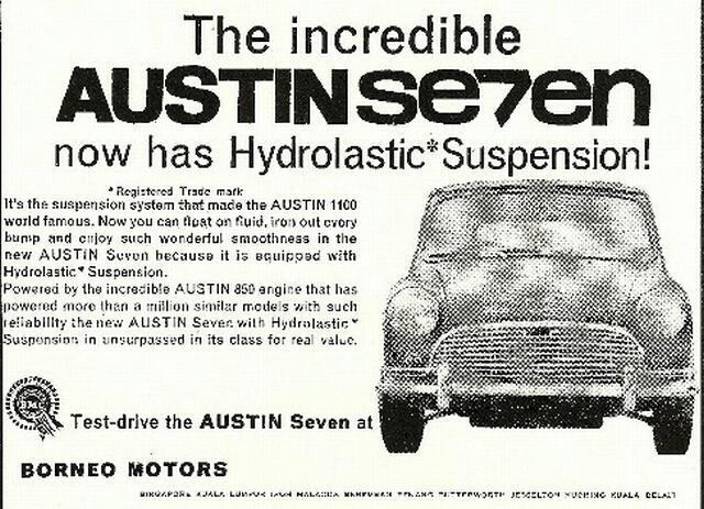 borneo motors austin mini advert 1960s