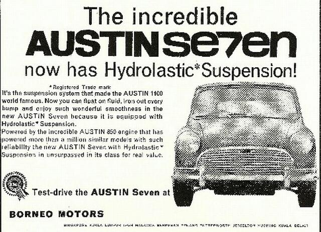 borneo motors austin mini advert 1960s