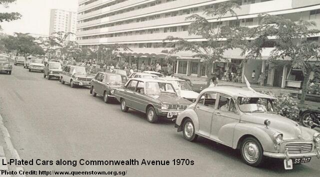 l-plated cars along commonwealth avenue 1970s