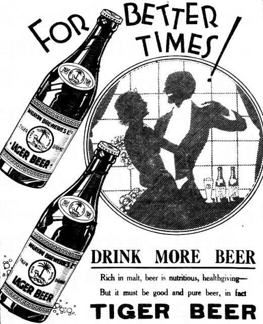 tiger beer advert 1933