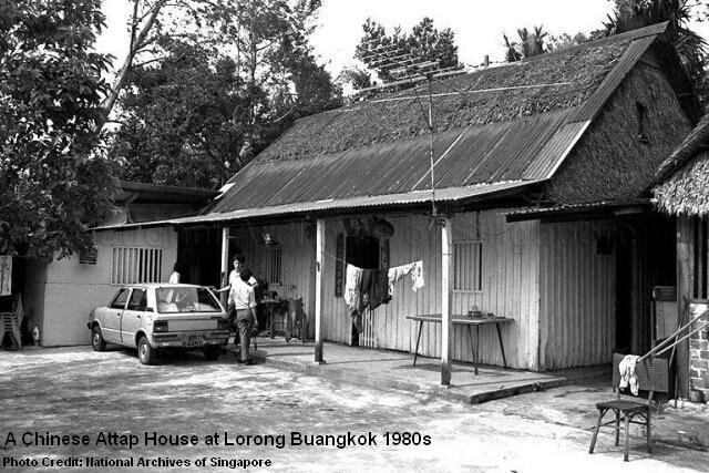 chinese attap house at lorong buangkok 1980s