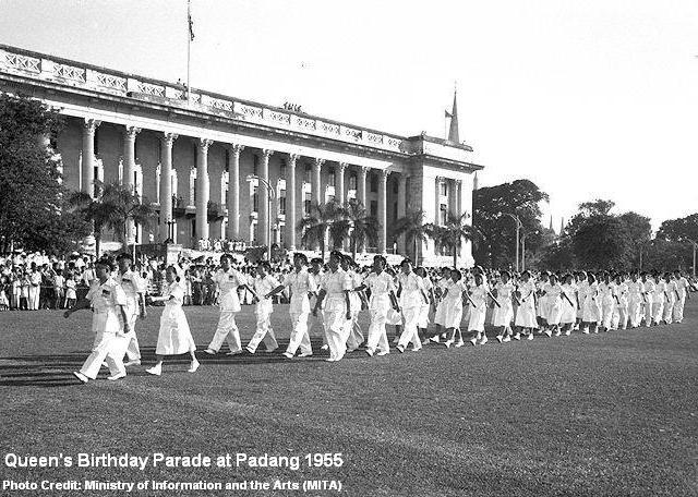 queen's birthday parade at padang 1955