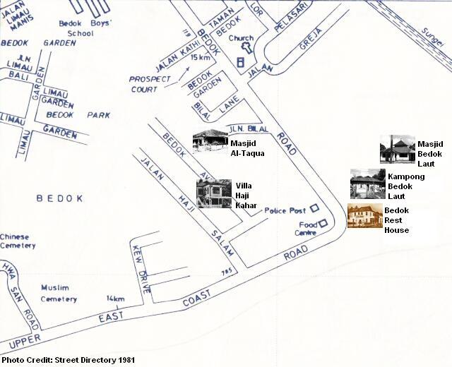 map of bedok  corner 1981