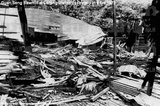 guan seng sawmill at lorong bistari destroyed in fire 1973