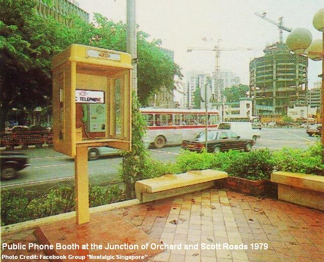 public phone booth at the junction of orchard and scotts roads 1979