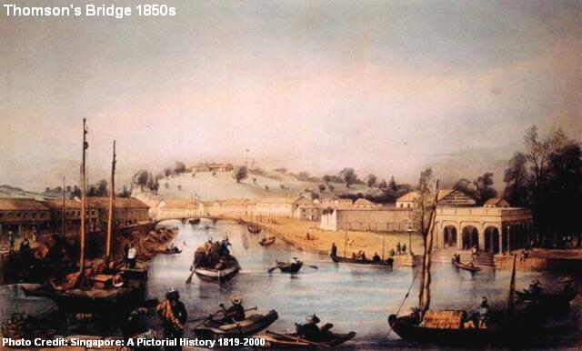 thomson's bridge singapore river 1850s