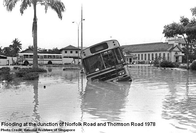flooding junction of norfolk road thomson road 1978
