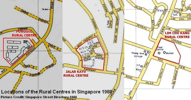 map of singapore rural centres 1988