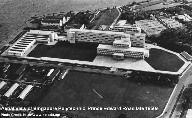 singapore polytechnic prince edward road aerial view late 1950s