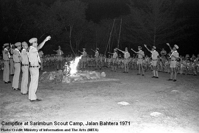 campfire at sarimbun scout camp jalan bahtera 1971