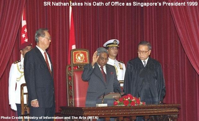 sr nathan sworn into office singapore president 1999
